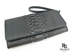 PELGIO Genuine Python Snake Skin Leather Women's Wrist Clutch Wallet Purse Black