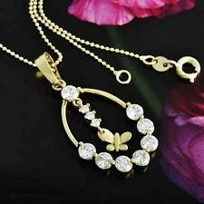 Lucky Gorgeous Woman 9K Gold Filled crystal Clear Butterfly Pendant +Chain