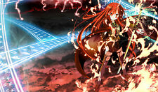 Sexy Red Headed Anime Girl with Sword in Flames Custom Playmat / Game Mat #163