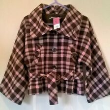 Matalan Girls New Age 10-11 years Brown/Pink/silver wool mix Checked Swing Coat