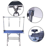 150kg Dog Pet Grooming Table Portable Folding Adjustable Non Slip W/ 2 Arm Noose