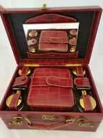 Vintage SHORTRIP Weekend Travel Train Case 2 Tier Textured Leather Luggage