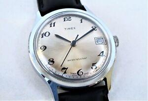 Vintage 1980 TIMEX Marlin calendar 27710-10580 silver dial, serviced