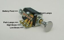 Headlight Dimmer Switch 4 Position with Chrome Knob and Chrome Bezel Nut