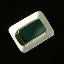 Silver Brooch with Green Agate. 1960s N. E. From - Denmark. Sterling