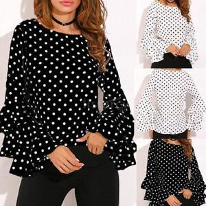 Women Polka Dot Tops Ruffled Long Sleeve O-Neck T Shirt Ladies Casual Blouse Tee