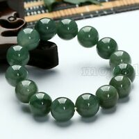 12MM Green 100% Natural JADE Jadeite Round Gemstone Beads Bangle Bracelet