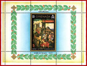 Grenada 1971 Christmas PAINTINGS,miniature sheet, ** Mi Bl 20, Sc 438, SG MS 473