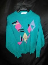 Vintage 80s St Croix M Teal Blue Pink Purple Sweater Memphis Style Cotton Knit