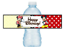 20 Mickey and Minnie Mouse Birthday Party Vinyl Water Bottle Labels 2x8
