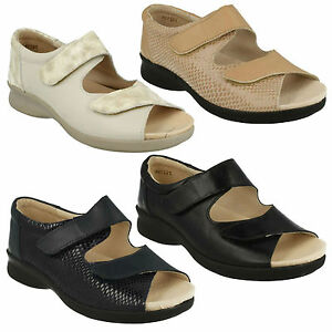 BLISS LADIES EASY B DB OPEN TOE FLAT CASUAL LEATHER RIPTAPE STRAP SUMMER SANDALS