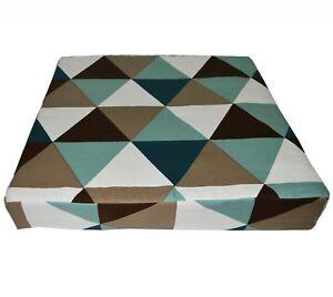LL336t Cream White Antique Blue Triangle Cotton Canvas 3D Box Seat Cushion Cover