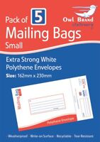 Pack of 5 Small Mailing Bags White Polythene Envelopes Extra Strong Postal Bag
