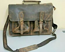 "Men's 15"" Retro Buffalo Leather Laptop Messenger Bag Office Briefcase Bag 2A-2"