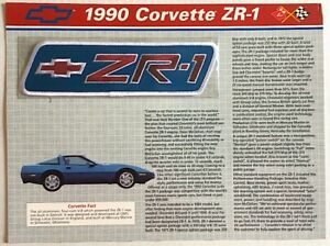 1990 CHEVROLET CORVETTE ZR-1 Willabee & Ward OFFICIAL PATCH COLLECTION INFO CARD