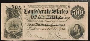 """Very Nice Confederate $500 """"Stonewall"""" Jackson Currency Note No Tears Beautiful"""