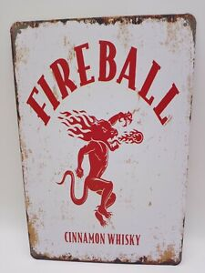 New Fireball Metal Tin Sign Cinamon Whisky  Home Kitchen Bar Wall Decor