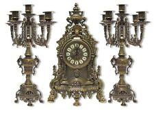 Tríptico BARROCO par Candelabro portavelas con Reloj de latón pulido