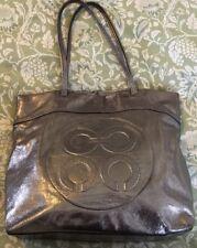 Coach Metallic Pewter Crinkled Glazed Julia OP Art Perry Tote Bag Shopper-14967