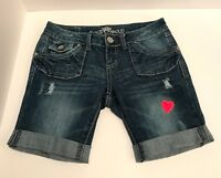 Almost Famous Women's Junior's Distressed Blue Denim Jean Shorts Size 3