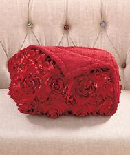 Sherpa Fleece Throw Blanket 3D Rosette Applique Sofa Bed Merlot Red 50x60 NEW