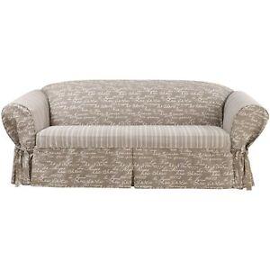 Sure Fit Vintage Script Sofa Slipcover Khaki
