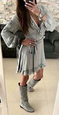 By O la la... ladies wrap front dress grey/ beige