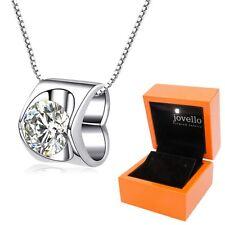 Top 925 Silber Herz Love Zirkonia Anhänger mit Kette Halskette + LED Holzbox