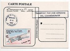 FRANCE Vol NANCY LUNEVILLE Aviation 80éme anniversaire 1992 Carte VIGNETTE Vol