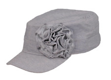 New Wilsons Leather Womens Cabbie Denim Weave Lace Flower Cadet Cap Military Hat