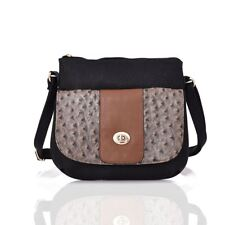 Carrie-ann Ostrich Pocket Cross Body Bag Black