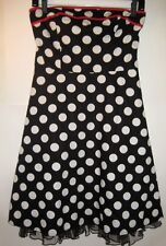 5 Sm Rockabilly Pin-Up Strapless Dress Black White Polka Dot Red Trim Lace Slip