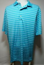 Greg Norman Play Dry Polo Size Large Polyester Light Blue White Stripes Shirt