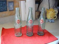 VINTAGE SET OF 3 RC ROYAL CROWN COLA SODA POP BOTTLES GREEN GLASS 10 OZ