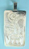 Vintage Tlingit First Nation Northwest Sterling Silver EAGLE Pendant Necklace