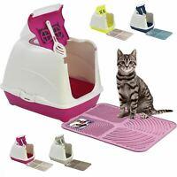 Hooded Flip Covered Cat Litter Box Tray +Mat +Filter +Scoop Kitten Toilet Loo UK