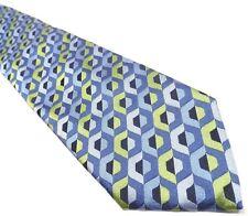 Neiman Marcus Mens Tie Blue Silk Tie Geometric Pattern Necktie Made in Italy