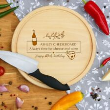 Personalised Engraved Cheese Round Chopping Board Fathers Day Birthday Gift