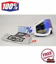 100% PERCENT BRAND STRATA GOGGLES MX ATV MOTOCROSS MOTO EQUINOX WHITE W/ MIRROR
