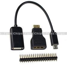 3 in 1 Raspberry Pi Zero Kit Mini HDMI to HDMI Adapter + Micro USB+GPIO Header