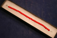 "Beautiful Bracelet With Red Agate 7"".5 In Long With Silver Clasps In Gift Box"