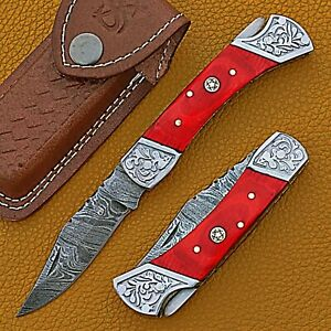 Damascus Steel Folding Knife/Pocket Knife Back Lock AR-17412