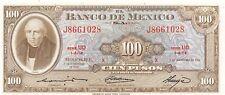 Mexico  100  Pesos   8.11.1961  Series  UO  Prefix  J  Uncirculated Banknote L