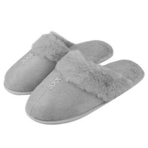 Women Furry Home Slippers Memory Foam Insole Anti Slip Flip Flops Winter Shoes