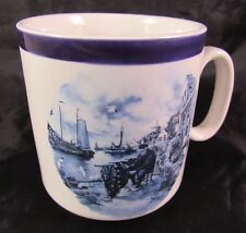 Ter Steege BV Delft Blauw Cup Handpainted Holland Dated 1984 Fisherman Boats