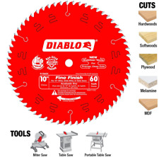 Diablo 10 in. x 60-Teeth Fine Finish Saw Blade Wood Cutting Circular Blade, Red