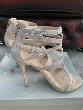 Carvela Kurt Geiger nude suedette high heeled diamanté scrappy sandals, 38, UK 5