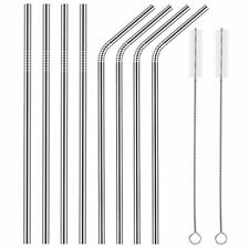 8 x Stainless Steel Metal Drinking Straw Straws Bent Reusable Washable+2 Brushes