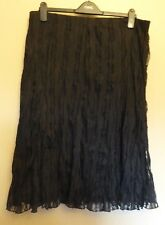 per Una Uk18 Eu46 Us14 Black Stretch Lace Lined Pull-on Crinkle Finish Skirt