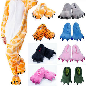 Adult Kids Animal Monster Feet Slippers Claw Dinosaur Paw Plush Funny Shoes Sz